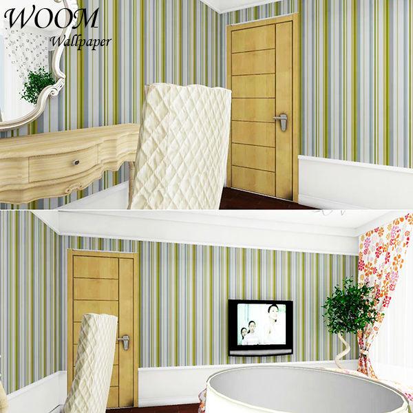 Hermoso colorido moderno verde de la raya pvc vinly papel tapiz ...