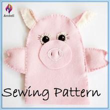 Sewing Pattern FELT Hand Puppet, Finger Puppet - PIG, Farm Animal , DIY, Template