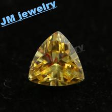 wuzhou hot sale golden yellow triangle cz jewel
