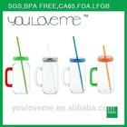 high quality best selling FDA BPA FREE wholesale Single wall AS plastic mason jar with handles