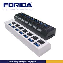 Forida usb hub driver 7 ports with individual LED light&switch