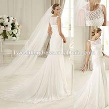 WD4036 White long wedding veil scoop neckline embroider patterns top chiffon cheap 2012 cap sleeve appliqued tulle wedding dress