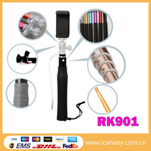 aluminium alloy + PC pole to lock wired selfie stick with cable take pole wired monopod for samsung note 3 for iphone