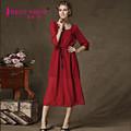 A la moda ropa mujer 2015 tendencia productos populares cuello-O gasa maxi vestido largo simple abertura alta vestido sexy/Vestido mujer 5266
