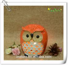 Orange glazed procelian tealight candle holder