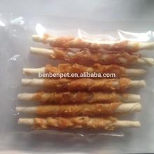 Pet food dog chew white rawhide twisted stick white chicken