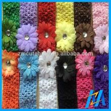 4cm Width With Small Flower Fashion Kids Hair Accessories Artificial Flower Making Hair Tie Elastic Crocheted Headband Hair Hand