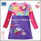 (H5792)Nova new model flower girl dress patterns children clothes wholesale 100%cotton printing garment for baby girls