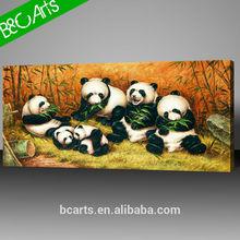 Public area decoration lovely pandas wall decor canvas prints with animal