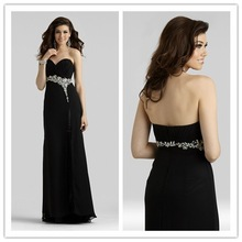 Chiffon long dress, black chiffon dress, lady dresses for prom