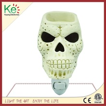 Keyang Skull Night Light Plug in Candle Warmer Scent Oil Burner for Halloween