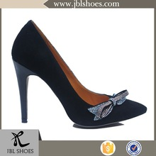2015 synthetic PU leather crystal new design shoe woman with lovely bow-tie