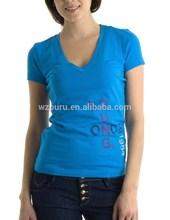women's 100% polyester v-neck t-shirt