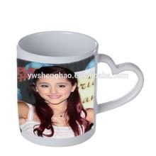 heart handle sublimation ceramic mug with photo