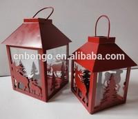 christmas red metal iron sheet lantern with deer