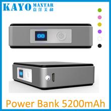 Plastic housing li-ion battery cell power bank 5200mAh for smartphone