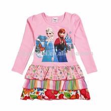 (Q915#PINK) 18M-6Y New winter cotton latest children frocks designs girls frozen dress