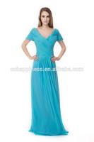 pretty women V neck wiht sleeve purple grey royal blue elegant party maxi plus size evening dresses 2015