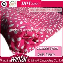 shaoxing winfar Textile Single Jersey Soft Ring Spun White Dot Printed Knits Viscose Lycra Fabric