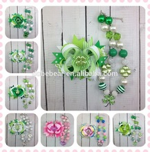 2015 factory wholesale ribbon fashion St. Patricks Day boutique four-leaf clover hair accessories