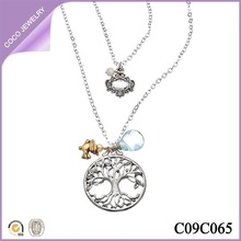 double stranded fashion necklace peace dove and tree of life pendant necklace