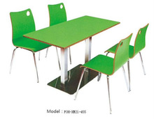 Fast food restaurant furniture green dining table and chair set(FOH-XM21-455)