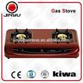 Jy-638 2 queimador de gás fogão 0.7mm chapas laminadas a frio cookertop com brilho de superfície vermelha