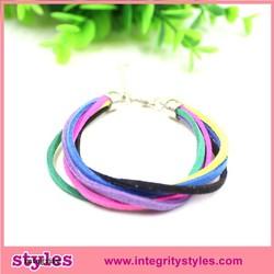 Thin multilayer mixture color leather bracelet