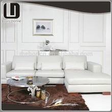 Custom Lovely L-shape White Modern Fabric Corner Sofa