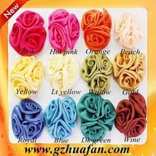 Girl 2inch mini satin ribbon rose flower DIY ribbon flower hesdband baby girl hair accessory