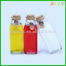 Square Fresh Keeping Milk Juice Glass Beverage Bottle with cork 350ml
