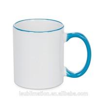Blue color sublimation ceramic rim mug