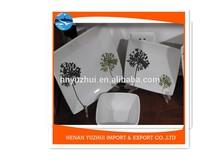 Modern square color glaze ceramic white dinnerware set 12 pieces