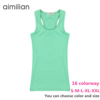 S-XXL (D220# 16colorway)Wholesale women export quality solid color combed cotton lycra jersey young girls lady tank tops