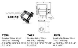 TW20 Standard Sliding Winch for truck webbing