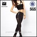 2015 de diseño de moda las mujeres sexy negro pantalones de cuero