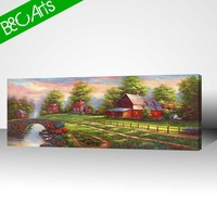 Beautiful countryside scenery painting of village house landscape art wall decor