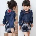 Qz-0528 großhandel mode kinder 2015 frühjahr kind kleidung kinder kleidung mädchen koreanisch neue denim langen kleid rock anzug