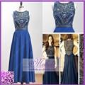 Made in China Stock cuadro verdadero azul de gasa con cuentas Rhinestone Prom patrones para vestidos 2015