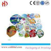 Embossed colored heat seal aluminium foil lids foil seal for plastic cup