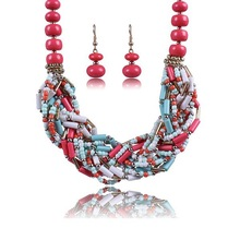 New design stone beads necklace and earring jewelry set