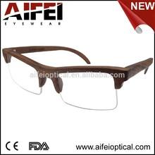 High quality half-rim unisex wood optical frame with spring hinge