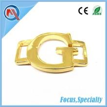 Gold zinc alloy brand letter logo labels for shoes