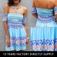 Fashion Design short sleeve off shoulder Summer Dress