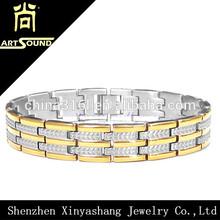 Wholesale stainless steel mens gold bracelet 22k