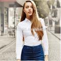 2015 de color blanco puro de la señora oxford ocasional de la camisa, Señora de la oficina de la camisa formal de