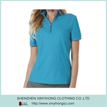 100% polyester pique fabric dri fit quick dry ladies short sleeve custom golf polo shirts