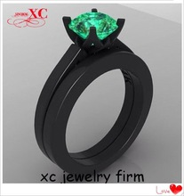 Green Sapphire Rings for Women Fashion Gift AAA Zircon 14KT Black Gold Filled Fine Jewelry