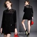 alta qualidade hot fix vestuário mulher manga longa gola de renda preta vestido fornecedor china