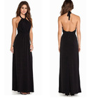 High quality back bareness black halter maxi dress for woman night dress manufaturer in china